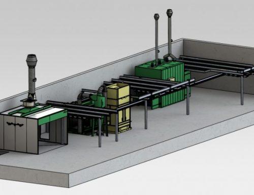 Ligne de Peinture Manuelle en Poudre avec Système de Rails Aériens